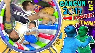 Download WHEELS ON THE BUS, OUCH! 🌎 WORLD'S COOLEST INDOOR PLAYGROUND (FUNnel Vision Cancun Mexico Pt 5 vlog) Video