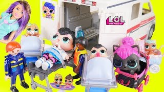 Download Spice Baby Custom Visit Hospital in Ambulance with Big LOL Surprise Dolls + Lil Sisters Wave 2 Video Video