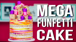 Download How To Make A MEGA FUNFETTI CAKE! Confetti Vanilla Cake with Sprinkle RICE KRISPIE TREATS! Video