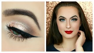 Download 100% DRUGSTORE Classic Holiday Makeup Tutorial | Champagne Neutral Eyes & Red Lips Video