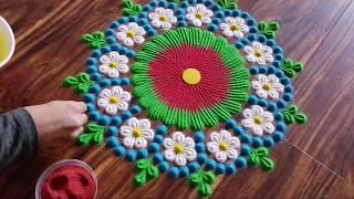 Download Easy Flower Rangoli | Make simple flower rangoli design Video