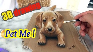 Download Painting of a dog in 3D   ″PET ME″   3D Drawing Illusion Video