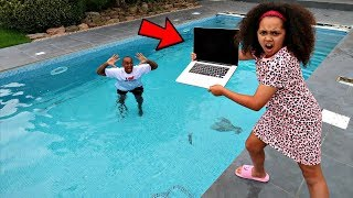 Download DAD'S MACBOOK PRO IN OUR SWIMMING POOL PRANK!! Video