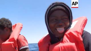 Download Migrants rescued on journey from Libya to Europe Video