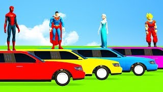 Download SUPERHERO COLOR LONG CARS & Helicopter Cartoon for Babies and Kids Spiderman Nursery rhymes Video