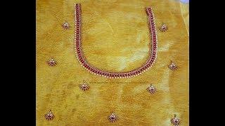 Download గోల్డ్ బెడ్స్ ఆరి జర్దోసి వర్క్ విత్ నార్మల్ నీడిల్  Gold beads zardosi with normal stitching needle Video