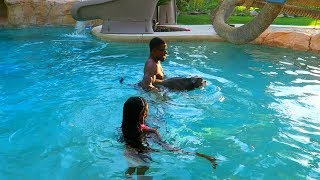 Download My Dog Rhino Can Swim Perfect (3 Mill Party With My Family) Video