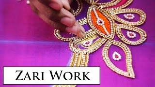 Download Zari Work on a Peacock Design Blouse Video