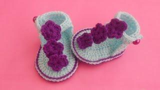 Download (Crochet-Crosia) how to make baby crochet sandals Video