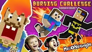 Download BURNING HELLO NEIGHBOR MINECRAFT CHALLENGE! FGTEEV Duddy vs. Chase Firey Structures Batman Mini-Game Video
