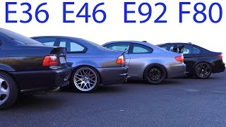 Download BMW M3 E30 vs M3 E36 vs M3 E46 vs M3 E92 vs M3 F80 Sound Battle 5 Generation V8 Video