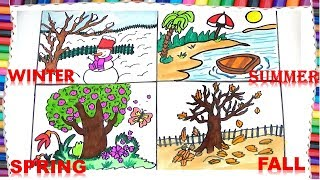 Download HOW TO DRAW FOUR SEASONS FOR KIDS-HOW TO DRAW WINTER,FALL,SUMMER AND SPRING Video