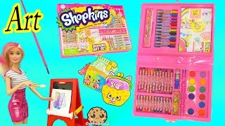 Download Shopkins Art Set Marker & Water Color Petkins Picture Painting - Toy Unboxing Video Cookie Swirl C Video