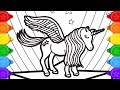 Download Glitter Wing unicorn coloring and drawing for kids, how to draw a glitter wing unicorn coloring page Video