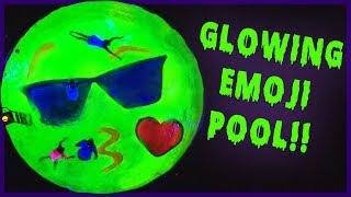 Download GLOWS IN THE DARK Emoji Swimming Pool! Video