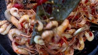 Download Survival skills: Small shrimp & peppers grilled on clay for food - Cooking shrimp eating delicious Video