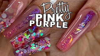 Download MY *NEW* Sculpted Nails | Pink & Purple GLITTER Acrylic Video
