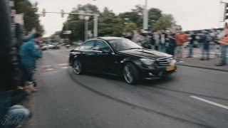Download Huge Burnouts!! Mercedes C63 AMG Gang leaving Cars & Coffee Dordrecht Video