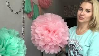 Download Весенний декор: помпоны и гирлянда из кисточек - 8 Марта! Pom Pom flower Video
