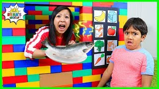 Download Ryan Pretend Play with Lego Vending Machine Healthy Snacks!!! Video