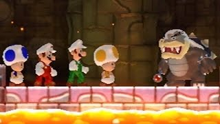 Download New Super Mario Bros Wii - All Bosses (4 Players) Video