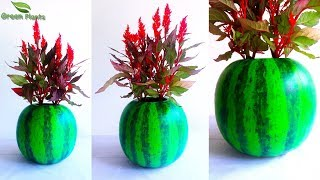 Download Watermelon Flower Pot-Watermelon Cement Tree Pot-Cement Planter at Home-Planter Ideas//GREEN PLANTS Video