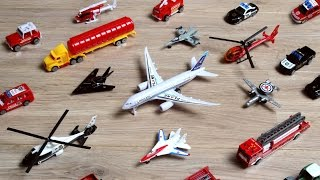Download Learning Planes and Fighter Jet for Kids - Police Car Fire Truck Toys Tomica Collection Video