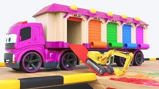 Download Many small excavators leave the houses and bathe in the pool. They brought a big transporter toy car Video