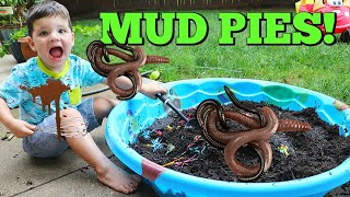 Download Kid Playing Outside Making GIANT Mud Pies with REAL WORMS! Video