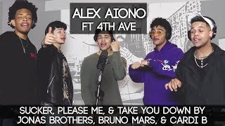 Download Sucker, Please Me, & Take You Down by Jonas Brothers, Bruno Mars, & Cardi B | Alex Aiono ft 4th AVE Video