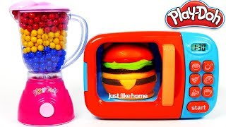 Download Hamburger Squishy Toy and MIcrowave Kitchen Toy Appliance Playset Learn Colors with Play Doh Video