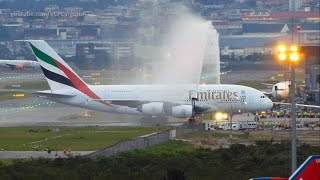 Download Airbus A380-800 Emirates First landing and Water salute at Guarulhos Video