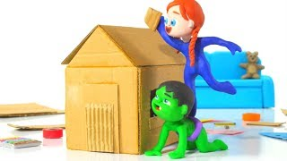 Download SUPERHERO BABIES BUILDING A HOUSE ❤ Spiderman, Hulk & Frozen Elsa Play Doh Cartoons For Kids Video