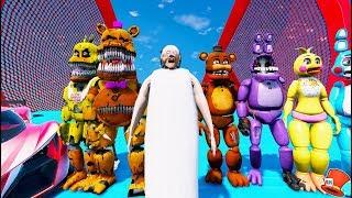 Download ANIMATRONICS & GRANNY STUNT OFF WORLD'S BIGGEST RAMPS! (GTA 5 Mods For Kids FNAF RedHatter) Video