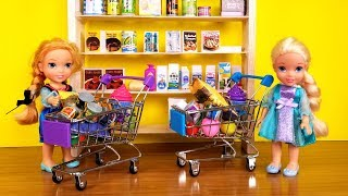 Download GROCERY store ! Elsa and Anna toddlers go shopping - Barbie is store manager Video