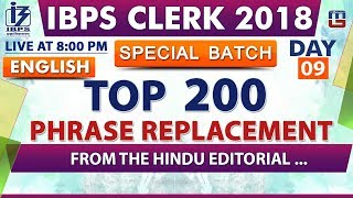 Download Top 200 | Phrase Replacement | Day 09 | IBPS Clerk 2018 | English | Live at 8:00 pm Video