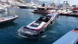 Download Mercedes AMG powerboat docking in Monaco harbour Video