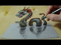 Download 3D Drawing of a Chinese Dragon - How to Draw 3D Water Dragon - Trick Art on Paper Video