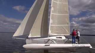 Download NEW foiling trimaran, CATRI 25. Test sailing, Latvia. Video