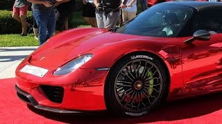 Download The World's first Chrome Red Porsche 918 Spyder at Palm Beach Cars and Coffee Video