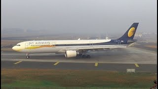 Download Jet Airways Airbus A330 disappearing in heavy fog after take-off at Mumbai Video