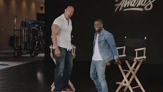 Download EXCLUSIVE: Kevin Hart and Dwayne Johnson Hilariously Flex Their Muscles in New MTV Movie Awards P… Video