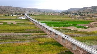 Download Viewed from above: Major ″Belt and Road″ high-speed railway in northwest China Video