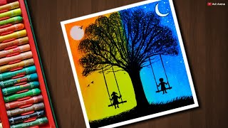 Download Day and Night scenery drawing for beginners with Oil Pastels - step by step Video