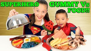 Download Superhero GUMMY Vs REAL FOOD Spiderman Vs Supergirl Challenge Ckn Toys Video