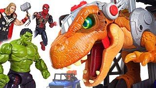 Download Jurassic World 2 Fallen Kingdom dinosaur T-rex appeared! Marvel Avengers Hulk! Go! - DuDuPopTOY Video