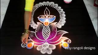 Download Latest Diwali Diya rangoli with Lotus and kolam designs 2018 || Deepavali muggulu Video