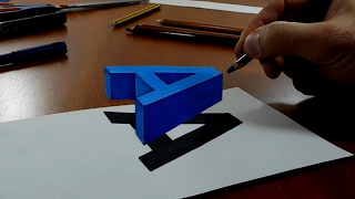 Try to do 3D Trick Art on Paper, floating letter M Free Download