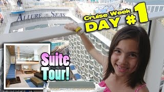 Download TWO STORY ROOM TOUR!! Royal Caribbean ALLURE OF THE SEAS Crown Loft Suite! [CRUISE WEEK DAY 1] Video