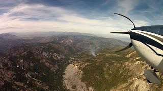 Download Birth of a HUGE Wild Fire - California Mountain Flying - C182 Skylane - ATC audio Video